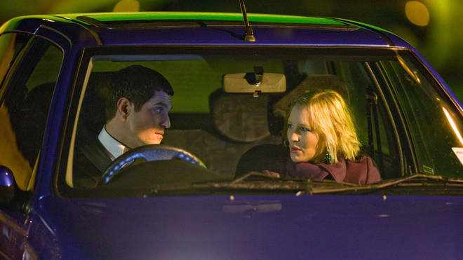 Mat Horne and Joanna Page at the filming of the 2008 Christmas special of Gavin and Stacey