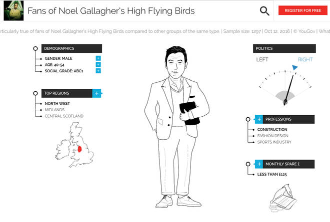A representation of Noel Gallagher's High Flying Birds fans