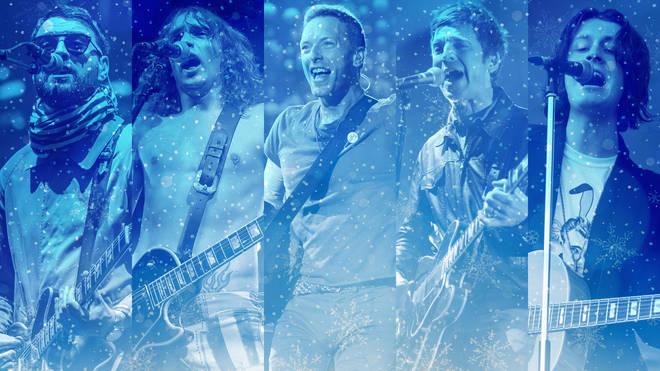 Liam Fray, Justin Hawkins, Chris Martin, Noel Gallagher and Tom Ogden of Blossoms