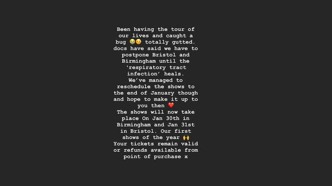 Sam Fender shares Instagram story apologising for forcing to cancel his Bristol and Birmingham dates