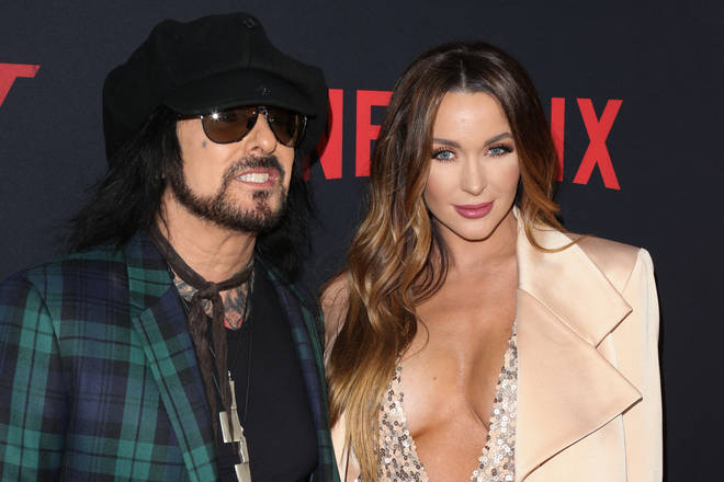 "Nikki Sixx and Courtney Sixx attend the Premiere Of Netflix&squot;s ""The Dirt"" at ArcLight Hollywood on March 18, 2019 in Hollywood, California"