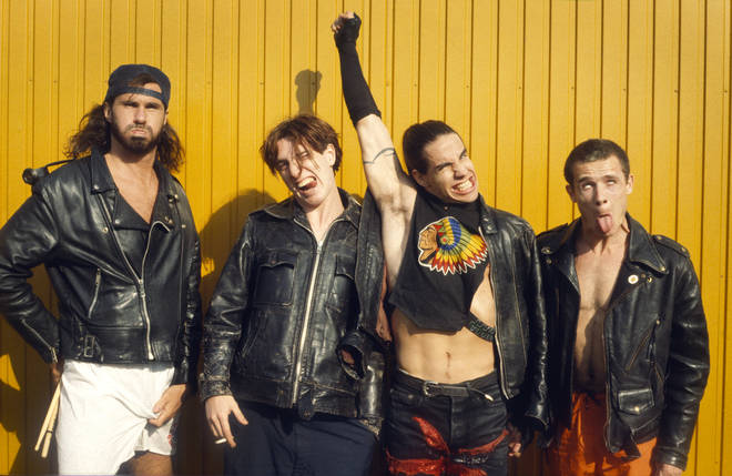 Red Hot Chili Peppers in 1990: Anthony Kiedis, Flea, John Frusciante, Chad Smith