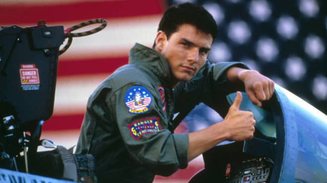 American actor Tom Cruise on the set of the original Top Gun, directed by Tony Scott.