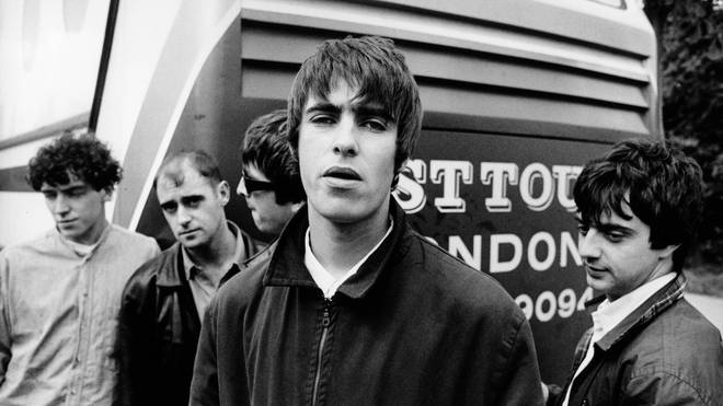 Oasis in 1994: Tony McCarroll, Bonehead, Noel Gallagher, Liam Gallagher and Guigsy.