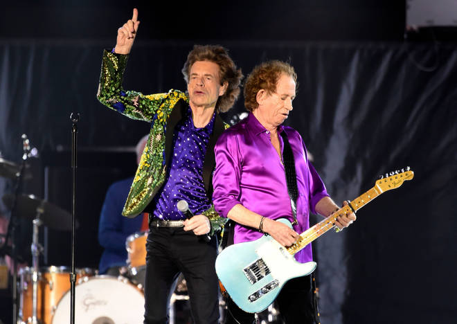 Mick Jagger and Keith Richards onstage in Pasadena, 2019
