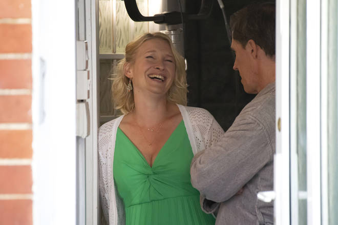 oanna Page, who plays Stacey Shipman, is seen laughing with Rob Brydon (R) during filming for the Gavin and Stacey Christmas special on Trinity Street on July 12, 2019 in Barry, Wales