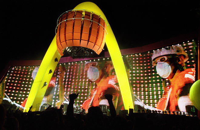 U2's PopMart Tour stage set at the Sam Boyd Stadium, Las Vegas, on first date of tour
