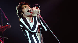 Freddie Mercury of Queen performs live at The Oakland Coliseum in 1977