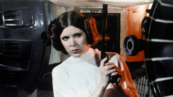 Carrie Fisher on the set of Star Wars: Episode IV - A New Hope