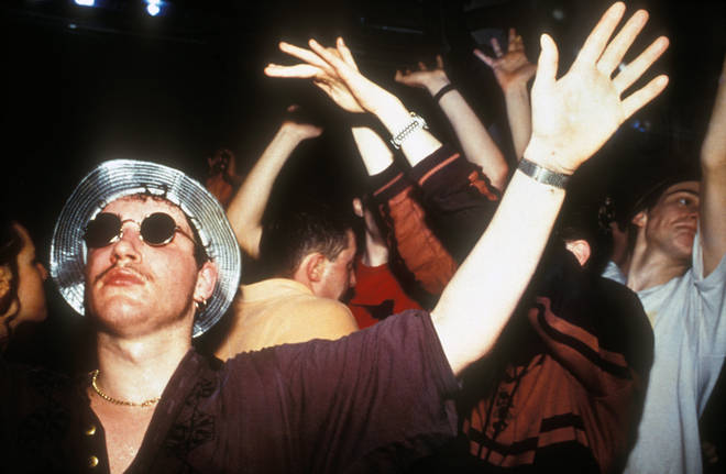 Clubbers dancing at Amnesia Rave 1991
