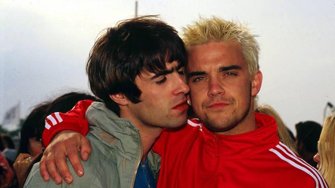 Liam Gallagher & Robbie Williams  at Glastonbury Festival, 1995
