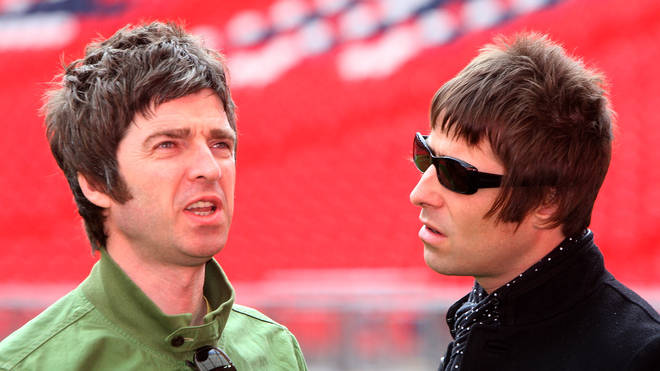 Noel and Liam Gallagher attend the Oasis photocall in Wembley Stadium to promote their new album 'Dig out Your Soul' released on October 6 2008