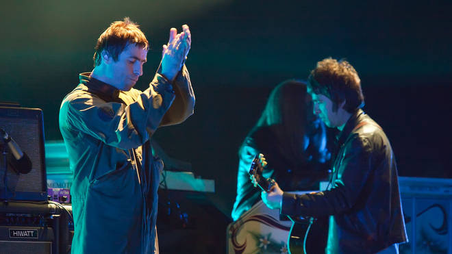 Liam Gallagher and Noel Gallagher of Oasis perform live at the Melt! Festival in Ferropolis on July 19, 2009