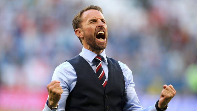 England manager Gareth Southgate celebrates England's victory after the FIFA World Cup Quarter Final