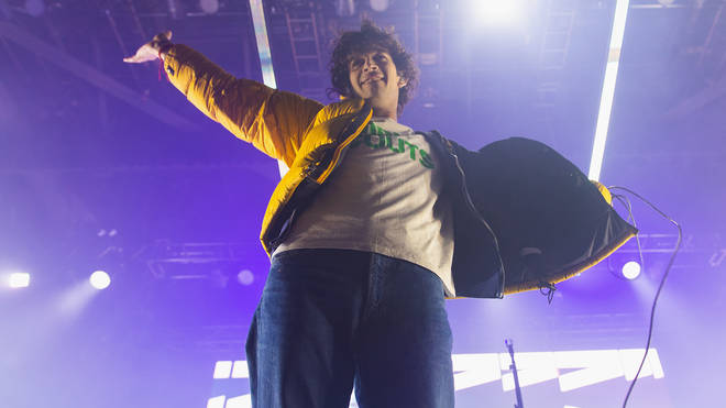 Singer Matty Healy of The 1975 performs on stage during Deck The Hall Ball hosted by 107.7 The End at WaMu Theater on December 10, 2019