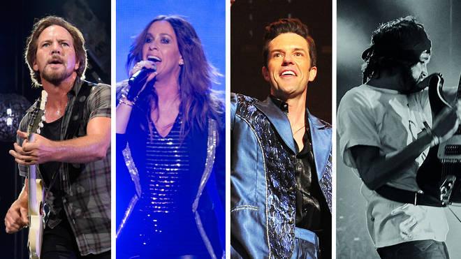 Pearl Jam's Eddie Vedder, Alanis Morissette, The Killers' Brandon Flowers and Kasabian's Serge Pizzorno