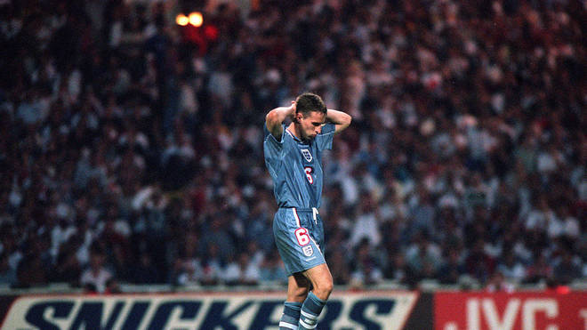 Gareth Southgate after he missed a penalty during England's match against Germany in the Euro '96 semi-final