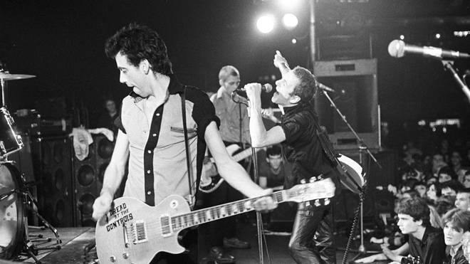 Mick Jones, Paul Simonon and Joe Strummer of The Clash performing live at Hammersmith Palais on 17 June 1980.