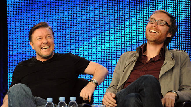 Ricky Gervais and Stephen Merchant  in California in 2010