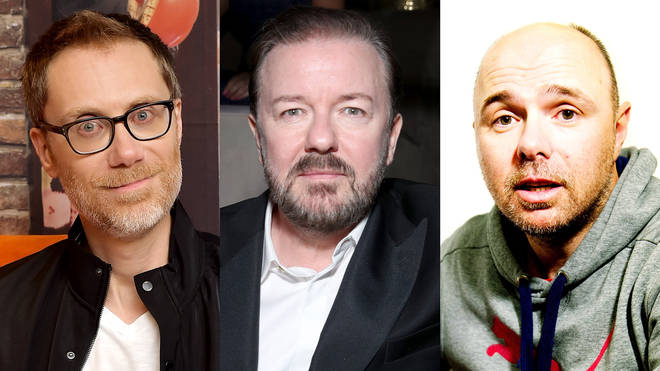 Stephen Merchant, Ricky Gervais and Karl Pilkington