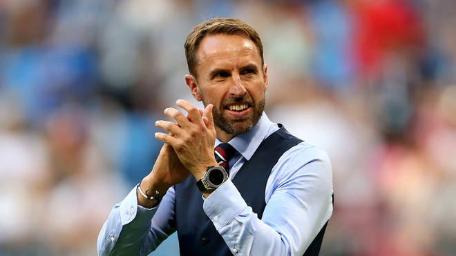 Gareth Southgate celebrates England's FIFA World Cup Quarter Final win