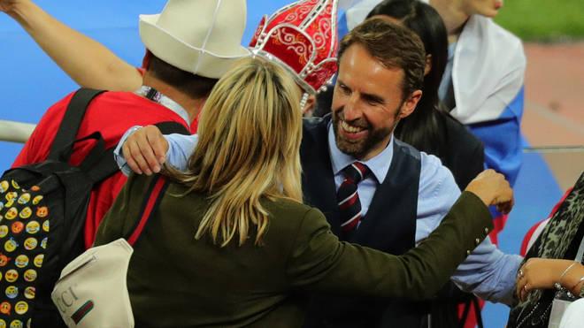 Gareth Southgate hugs wife Alison