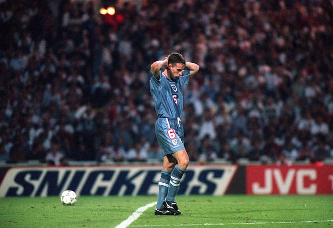 Gareth Southgate dejected after failing to score in the penalty shoot out which ended England's Euro '96 bid