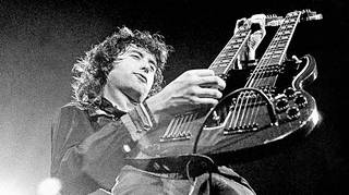 Jimmy Page on stage with Led Zeppelin in June 1972