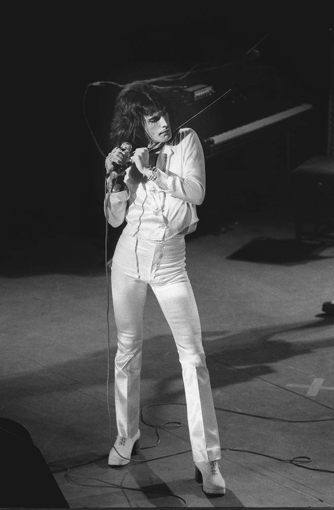 Freddie Mercury wearing his Alan Mair boots onstage with Queen in October 1974