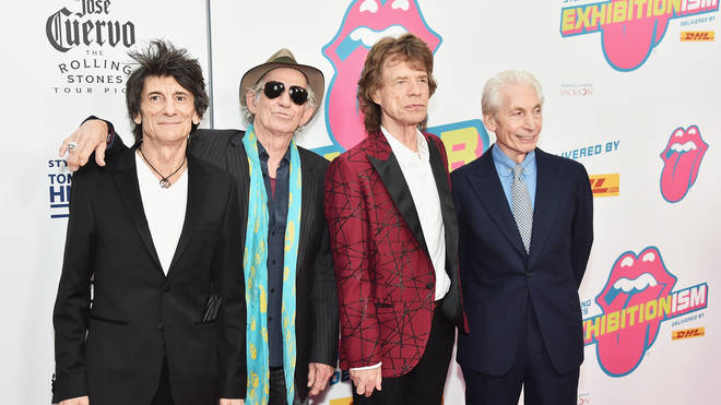 Ronnie Wood, Keith Richards, Mick Jagger and Charlie Watts of The Rolling Stones attend The Rolling Stones celebrate the North American debut of Exhibitionism at Industria in the West Village on November 15, 2016