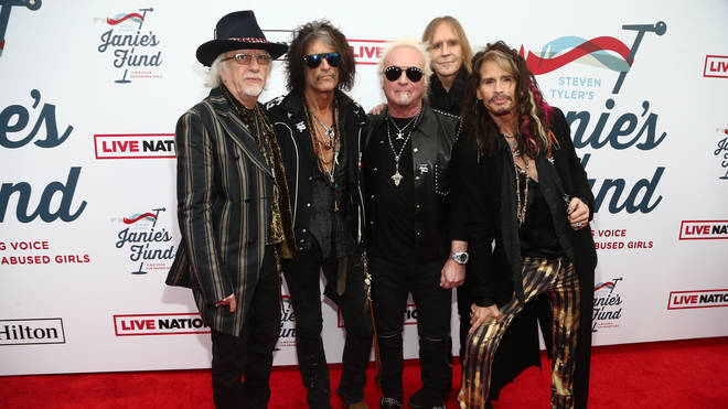 Brad Whitford, Joe Perry, Joey Kramer, Tom Hamilton and Steven Tyler of Aerosmith  at the Grammys in February 2019