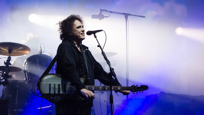 Robert Smith of The Cure performs on The Pyramid Stage during day five of Glastonbury Festival at Worthy Farm, Pilton on June 30, 2019