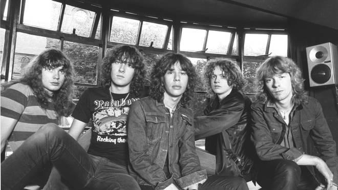 Rick Savage, Joe Elliott, Pete Willis,Rick Allen, Steve Clark  of Def Leppard in 1979