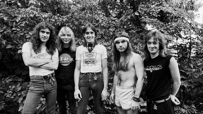 Iron Maiden in 1983:  Steve Harris, Dave Murray, Nicko McBrain, Bruce Dickinson, and Adrian Smith