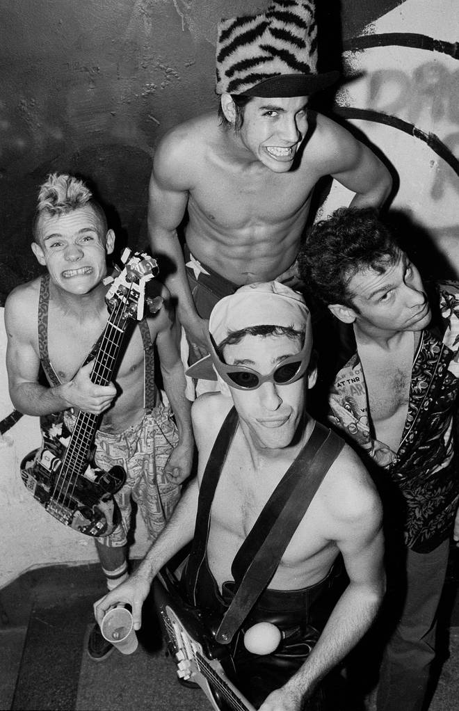 Red Hot Chili Peppers in 1985: , Flea, Anthony Kiedis, Chad Smith, and Hillel Slovak