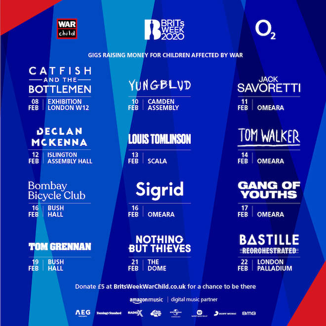 BRITs Week Together with O2 for War Child 2020 first line-up announcement