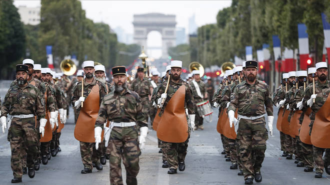 Soldiers of the French Foreign Legion parade on the Champs Elysees avenue for Bastille Day 2018 rehearsals
