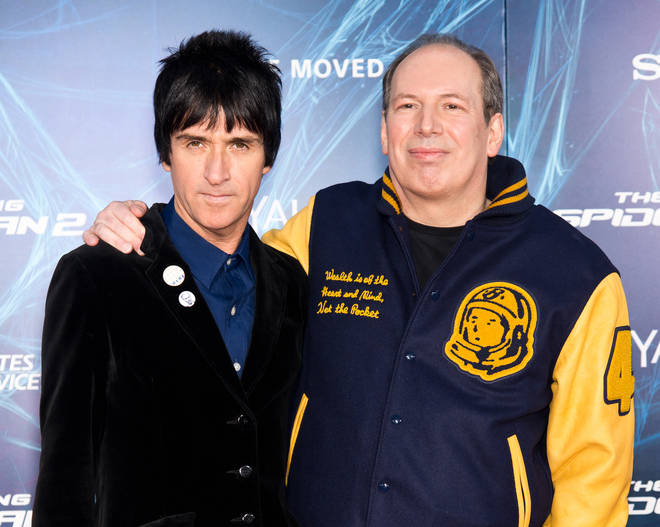 "Johnny Marr and composer Hans Zimmer attend ""The Amazing Spider-Man 2"" premiere at the Ziegfeld Theater on April 24, 2014 in New York City."