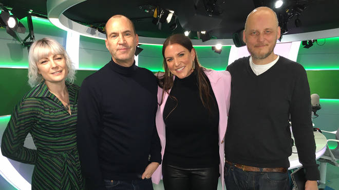 WWE legend Stephanie McMahon poses with Sunta Templeton, Johnny Vaughan and Gav 'The Woodman' Woods