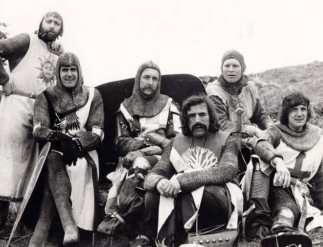 On location for Monty Python & The Holy Grail: Graham Chapman, John Cleese, Eric Idle, Terry Jones, Terry Gilliam and Michael Palin