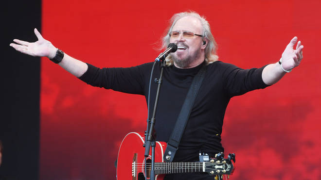 Barry Gibb performing at Glastonbury Festival 2017