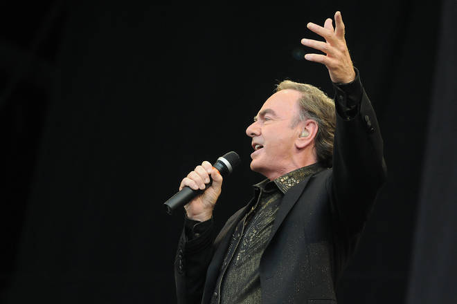 Neil Diamond performs on the Pyramid stage during day three of the Glastonbury Festival at Worthy Farm, Pilton on June 29, 2008