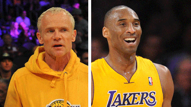Red Hot Chili Peppers Flea and the late LA Lakers legend Kobe Bryant
