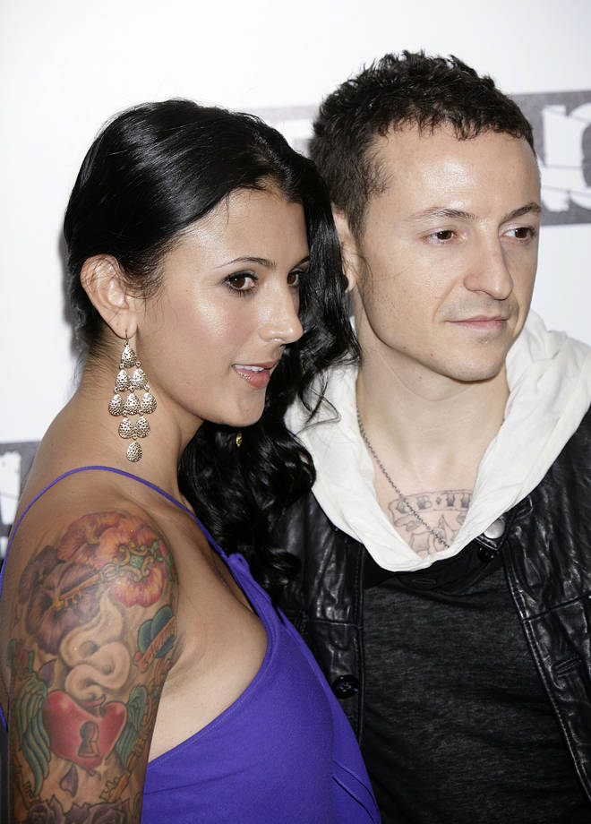 Linkin Park's Chester Bennington with his wife Talinda in 2009