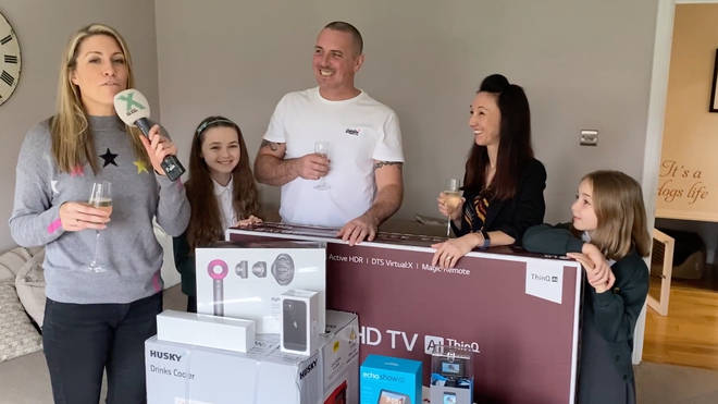 Pippa meets Chris and his family in Spalding to drop off The Chris Moyles Prize Dump