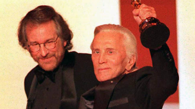 Steven Spielberg and Kirk Douglas at the Oscars in 1996