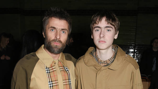 Liam Gallagher and son Gene Gallagher at the Burberry February 2018 show