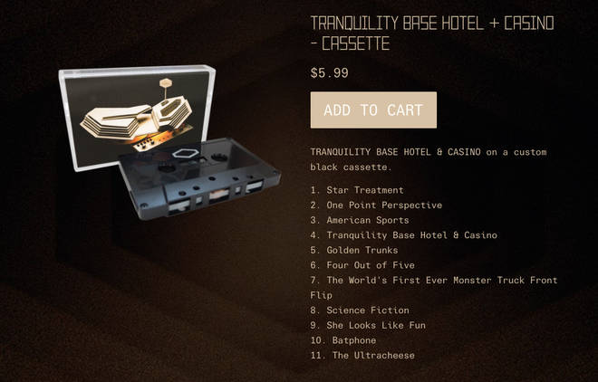 Arctic Monkeys' Tranquility Base Hotel & Casino album on Cassette Tape