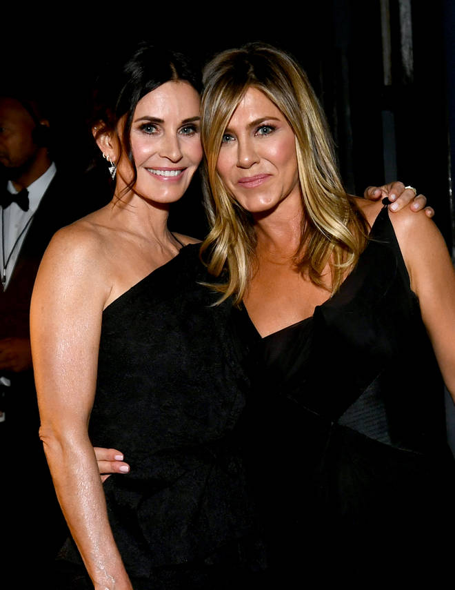 Courtney Cox and Jennifer Aniston attend the American Film Institute's 46th Life Achievement Award Gala Tribute to George Clooney at Dolby Theatre on June 7, 2018