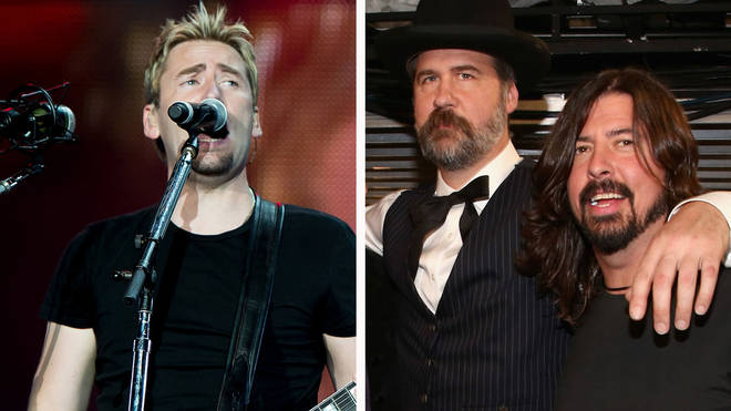 Nickleback's Chad Kroeger and former Nirvana bandmates Krist Noveselic and Dave Grohl